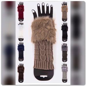 BUNDLE & SAVE! Fur Trim Knit Fingerless Gloves